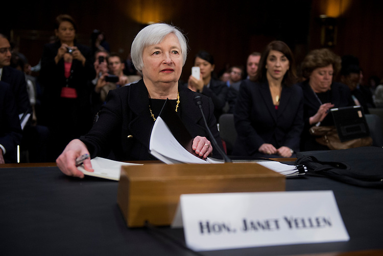 UNITED STATES - NOVEMBER 14: Janet Yellen arrives to testify before a Senate Banking Urban Affairs Committee hearing in Dirksen Building on her confirmation to head the Federal Reserve. (Photo By Tom Williams/CQ Roll Call)