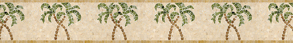"""6"""" Palm Tree border, a hand-cut stone mosaic, shown in polished Crema Marfil, Travertine Noce, Verde Luna, Chartreuse, and Renaissnace Bronze."""
