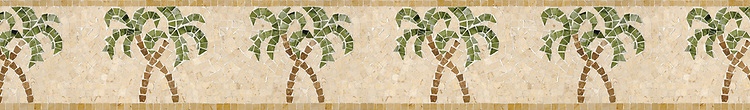 "6"" Palm Tree border, a hand-cut stone mosaic, shown in polished Crema Marfil, Travertine Noce, Verde Luna, Chartreuse, and Renaissnace Bronze."