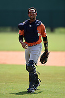Houston Astros Brian Pena (28) during practice before a minor league spring training game against the Detroit Tigers on March 25, 2015 at Tiger Town in Lakeland, Florida.  (Mike Janes/Four Seam Images)