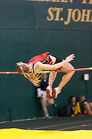 Central Missouri senior Lindsay Lettow clears the bar in the high jump at the 2012 MIAA Indoor Track & Field Championships at Missouri Southern in Joplin, February 26. Lettow cleared 5-8 to win the event.
