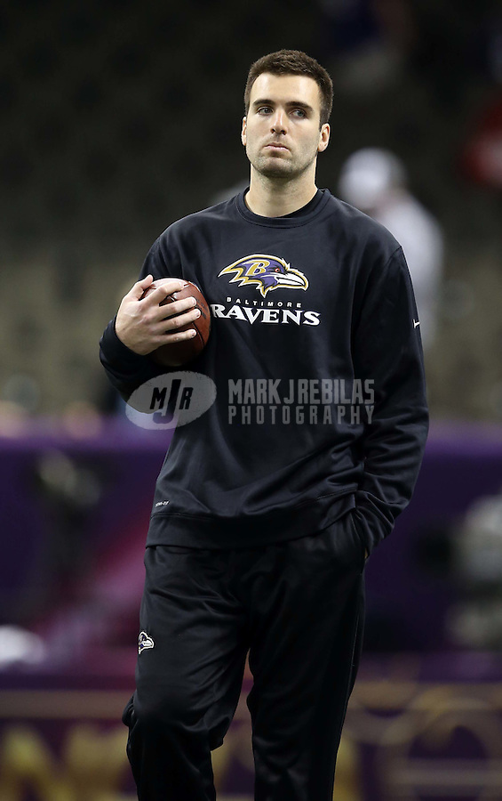 Feb 3, 2013; New Orleans, LA, USA; Baltimore Ravens quarterback Joe Flacco warms up before Super Bowl XLVII against the San Francisco 49ers at the Mercedes-Benz Superdome. Mandatory Credit: Mark J. Rebilas-