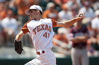 Texas Longhorns pitcher Hoby Milner #41 delivers during the NCAA baseball game against the Texas A&M Aggies on April 28, 2012 at UFCU Disch-Falk Field in Austin, Texas. The Aggies beat the Longhorns 12-4. (Andrew Woolley / Four Seam Images).