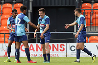 a Wycombe Wanderers triallist is congratulated after scoring the last minute goal during Barnet vs Wycombe Wanderers, Friendly Match Football at the Hive Stadium on 13th July 2019