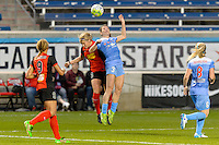 Bridgeview, IL, USA - Saturday, April 23, 2016: Western New York Flash forward Makenzy Doniak (3) and Chicago Red Stars defender Arin Gilliland (3) during a regular season National Women's Soccer League match between the Chicago Red Stars and the Western New York Flash at Toyota Park. Chicago won 1-0.