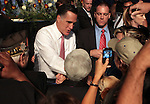 Republican presidential candidate Mitt Romney greets the crowd after speaking at the Veterans of Foreign Wars convention in Reno, Nev., on Tuesday, July 24, 2012..Photo by Cathleen Allison