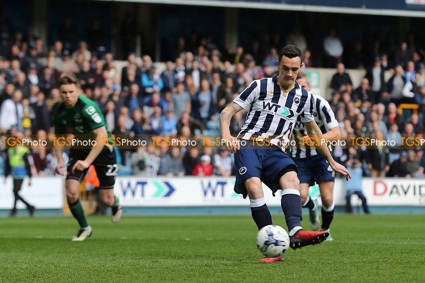 Shaun Williams scores Millwall's opening goal from the penalty spot during Millwall vs Scunthorpe United, Sky Bet EFL League 1 Football at The Den on 1st April 2017