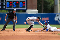 Ryan Larson (66) of the Florida Gators slides into second base ahead of the tag by Wake Forest Demon Deacons second baseman Jake Mueller (6) during Game One of the Gainesville Super Regional of the 2017 College World Series at Alfred McKethan Stadium at Perry Field on June 10, 2017 in Gainesville, Florida.  (Brian Westerholt/Four Seam Images)