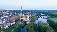 France, Vienne, Saint Savin sur Gartempe, Saint Savin abbey church listed as World Heritage by UNESCO and Gartempe river (aerial view) // France, Vienne (86), Saint-Savin-sur-Gartempe, église abbatiale Saint-Savin-sur-Gartempe classée Patrimoine Mondial de l'UNESCO et la Gartempe (vue aérienne)