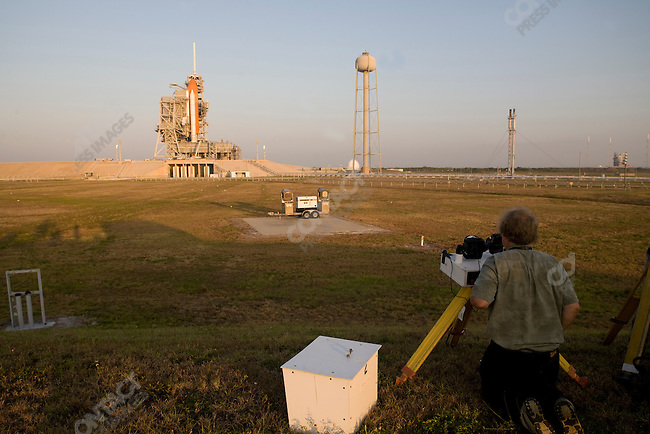 Scott Andrews, specialist from Canon cameras, installs dozens of cameras around the Space Shuttle launch site in preparation for the launch of the Space Shuttle Atlantis. News organizations rely on his expertise to capture launches of the Shuttle. Kennedy Space Center, Cape Canaveral, Florida, May 10, 2009