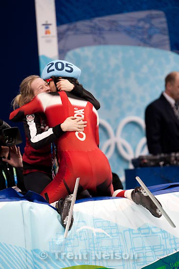 Trent Nelson  |  The Salt Lake Tribune.Gold medal winner Charles Hamelin embraces Marianne St-Gelais in celebration. Men's 500m final, Short Track Speed Skating at the Pacific Coliseum Vancouver, XXI Olympic Winter Games, Friday, February 26, 2010. Charles Hamelin (205, Canada, gold medal), Sung Si-Bak (244, Korea, silver medal), Francois-Louis Tremblay (208, Canada, bronze medal), Apolo Anton Ohno (256, USA, disqualified)