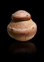 Terra cotta pot and lid from a Bronze Age Grave H (2500 BC - 2250 BC) -  Alacahoyuk - Museum of Anatolian Civilisations, Ankara, Turkey. Against a black background