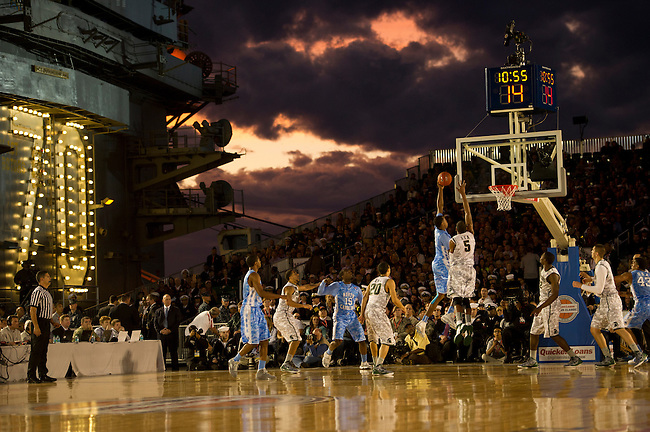 SAN DIEGO, CA - NOVEMBER 11, 2011: The Michigan State Spartans and the North Carolina Tar Heels in action during the 2011 Quicken Loans Carrier Classic on the USS Carl Vinson..(Photo by Robert Beck / ESPN)..- RAW FILE AVAILABLE -.- CMI000165193.jpg -