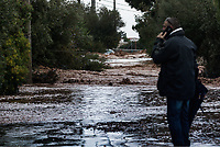 Pictured: The middle of a road which has flooded.<br /> Re: Five people have reportedly died and severe damage caused by heavy rain and flash flooding in the area of Mandra, near Athens, Greece. Wednesday 15 November 2017