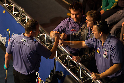 13.12.2012 London, England. USA player Shane Van Boening celebrates with teammates during the Mosconi Cup International Pool Championships  between Team Europe and Team America from York Hall.
