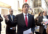 United States Representative Jamie Raskin (Democrat of Maryland) speaks at a protest held outside the Qatari Embassy to demand the Qatari government use its influence over terrorist group Hamas to return two of Israel's slain soldiers, Hadar Goldin and Oron Shaul, whom the terrorist group killed and kidnapped in 2014. Goldin was murdered and his body kidnapped during a U.S.- and U.N.-brokered ceasefire, in violation of international law and norms. The Jewish Community Relations Council (JCRC) of Greater Washington is spearheading the event at the embassy.<br /> Credit: Ron Sachs