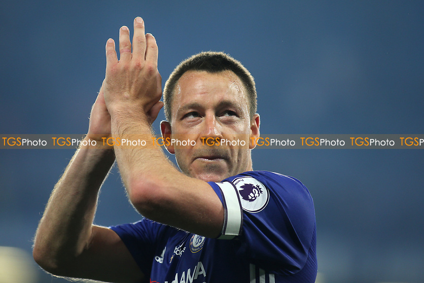 Chelsea's John Terry applauds the fans as he leaves the pitch after the final whistle during Chelsea vs Watford, Premier League Football at Stamford Bridge on 15th May 2017
