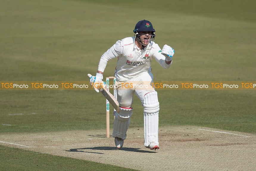 Rob Jones of Lancashire CCC punches the air as he celebrates his century during Middlesex CCC vs Lancashire CCC, Specsavers County Championship Division 2 Cricket at Lord's Cricket Ground on 13th April 2019