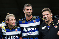 Max Clark, Luke Charteris and Charlie Ewels of Bath Rugby look on in a post-match huddle. Pre-season friendly match, between the Scarlets and Bath Rugby on August 20, 2016 at Eirias Park in Colwyn Bay, Wales. Photo by: Patrick Khachfe / Onside Images