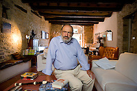 Monte Cerignone, Pesaro-Urbino, Italy. Umberto Eco, renowned Italian semiotician, philosopher, linguist, bibliophile, novelist, essayist and Professor. Mr Eco becomes very popular on the world literary scene with his books 'In the name of the rose' ('In nome della rosa').