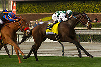 ARCADIA, CA  DECEMBER  30:#4 Daddys Lil Darling, ridden by Mike Smith, wins the American Oaks (Grade l), on December 30, 2017, at Santa Anita Park in Arcadia, CA..(Photo by Casey Phillips/ Eclipse Sportswire/ Getty Images)