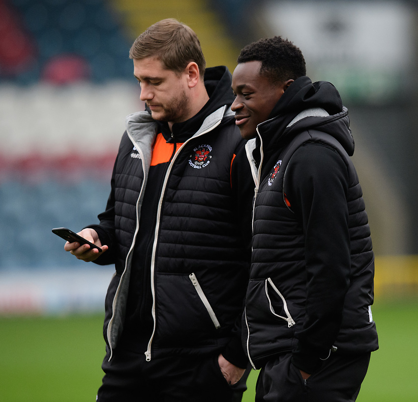 Blackpool's Steven Davies, left, and Blackpool's Marc Bola prior to the game<br /> <br /> Photographer Chris Vaughan/CameraSport<br /> <br /> The EFL Sky Bet League One - Rochdale v Blackpool - Wednesday 26th December 2018 - Spotland Stadium - Rochdale<br /> <br /> World Copyright © 2018 CameraSport. All rights reserved. 43 Linden Ave. Countesthorpe. Leicester. England. LE8 5PG - Tel: +44 (0) 116 277 4147 - admin@camerasport.com - www.camerasport.com