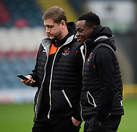 Blackpool's Steven Davies, left, and Blackpool's Marc Bola prior to the game<br /> <br /> Photographer Chris Vaughan/CameraSport<br /> <br /> The EFL Sky Bet League One - Rochdale v Blackpool - Wednesday 26th December 2018 - Spotland Stadium - Rochdale<br /> <br /> World Copyright &copy; 2018 CameraSport. All rights reserved. 43 Linden Ave. Countesthorpe. Leicester. England. LE8 5PG - Tel: +44 (0) 116 277 4147 - admin@camerasport.com - www.camerasport.com