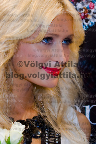 Paris Hilton attends the press conference of the newly opened Coin fashion store in Budapest presenting some of her collections, Hungary. Thursday, 03. September 2009. ATTILA VOLGYI