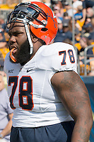 Virginia offensive tackle Morgan Moses (78).The Pitt Panthers defeated the Virginia Cavaliers 14-3 at Heinz Field, Pittsburgh, PA on Saturday, September 28, 2013.