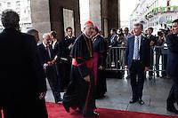 Milano: Vatican State Secretary Cardinal Tarcisio Bertone arriva al Teatro alla Scala per il concerto in di Papa Benedetto XVI ..Milan: Vatican State Secretary Cardinal Tarcisio Bertone arrives at La Scala theatre in Milan during the 7th World Meeting of Families. .