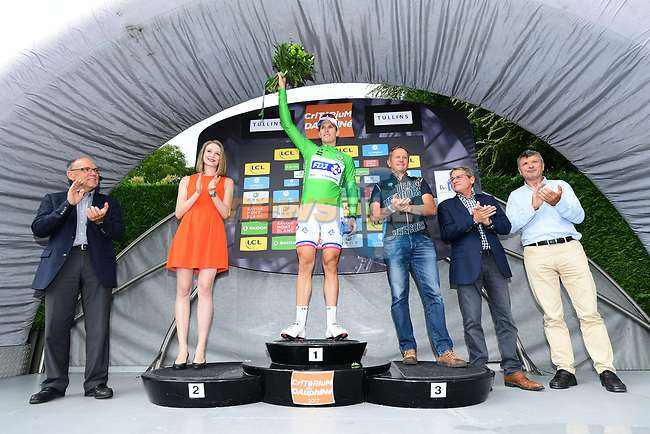 Arnaud Demare (FRA) FDJ takes over the points green jersey at the end of Stage 3 of the Criterium du Dauphine 2017, running 184km from Chambon-sur-Lignon to Tullins, France. 6th June 2017. <br /> Picture: ASO/A.Broadway | Cyclefile<br /> <br /> <br /> All photos usage must carry mandatory copyright credit (&copy; Cyclefile | ASO/A.Broadway)