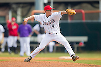 Davidson Wildcats relief pitcher Michael Goldberg (4) in action against the Western Carolina Catamounts at Wilson Field on March 10, 2013 in Davidson, North Carolina.  The Catamounts defeated the Wildcats 5-2.  (Brian Westerholt/Four Seam Images)