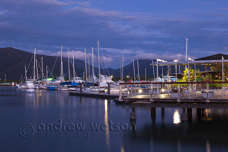 Boats in Marlin Marina at dusk.  Marina Point, Cairns, Queensland, Australia