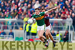 Séan O'Shea Kerry in action against Paul Conroy Galway in the Allianz Football League Division 1 Round 4 match between Kerry and Galway at Austin Stack Park, Tralee, Co. Kerry.
