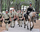 State Troopers patrol the park where protests are allowed near the 2012 Republican National Convention in Tampa Bay, Florida on Saturday, August 25, 2012..Credit: Ron Sachs / CNP.(RESTRICTION: NO New York or New Jersey Newspapers or newspapers within a 75 mile radius of New York City)
