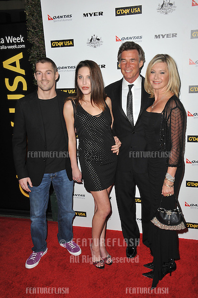 Chloe Lattanzi & fiancé James Driscoll (left) with her mother Olivia Newton-John & husband John Easterling at the 2011 G'Day USA Black Tie Gala at the Hollywood Palladium..January 22, 2011  Los Angeles, CA.Picture: Paul Smith / Featureflash
