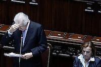 Il presidente del Consiglio Mario Monti durante il suo intervento, e a destra Elsa Fornero.Roma 05/07/2012 Camera dei Deputati - Informativa urgente del Governo sugli esiti del Consiglio europeo del 28-29 giugno.Foto Serena Cremaschi Insidefoto