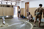Tokyo, April 26 2013 - After the training at Otakebeya sumo stable.
