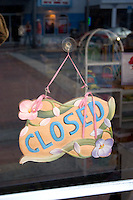 Closed sign at a gift shop on Corey Avenue.  St. Pete Beach Tampa Bay Area Florida USA