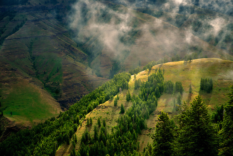 Joseph Canyon Overlook with clearing rain clouds, Oregon