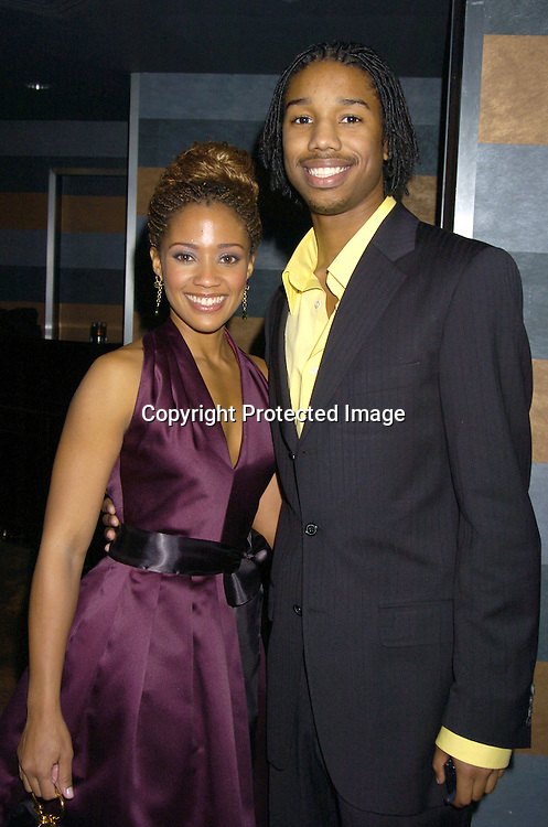 Tanisha Lynn and Michael B Jordan ..at the Rainbow Room at the celebration for All My Childrens's 35th Anniversary after a show at Town Hall benefitting Broadway Cares Equity Fights Aids on February 7, 2005. ..Photo by Robin Platzer, Twin Images