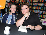 Ryan McGrattan pictured with author Derek Landy at his book signing in Waterstones at Scotch Hall. Photo: Colin Bell/pressphotos.ie