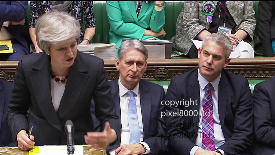 Pic shows: PMQ's 21.11.18<br /> Brexit squabbles abound as PM Theresa May takes on<br /> Jeremy Corbyn<br /> <br /> <br /> She had new Brexit secretary Steve Barclay on her right next to Phil Hammond<br /> <br /> <br /> <br /> <br /> <br /> supplied by Pixel8000 Ltd
