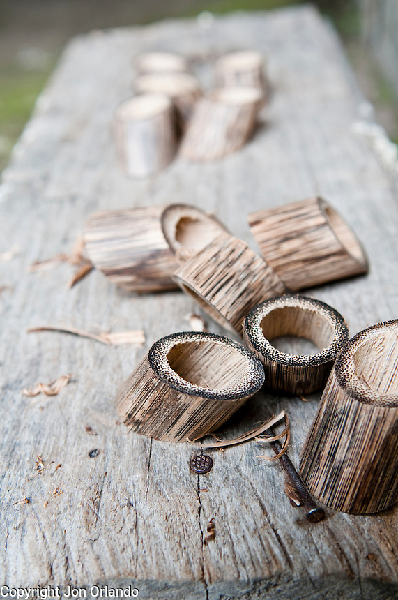 Napkin holders made from local bamboo sit in mid production.  The napkin holders are being made by members of .Colibris Women´s Artisan Cooperative. near Marianitas, Ecuador.
