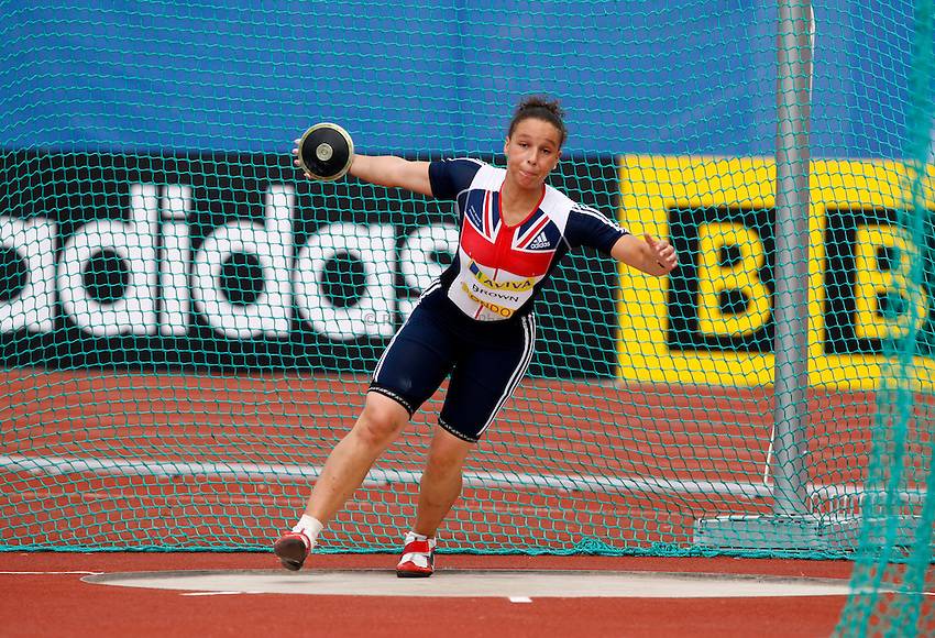 Photo: Richard Lane/Richard Lane Photography. .Aviva London Grand Prix, Crystal Palace. 26/07/2008. Great Britain's Shaunagh Brown in the women's discus.