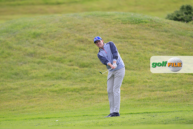 Peter O'Hara (Co. Sligo) on the 2nd fairway during the Under 18 Close Strokeplay of the GolfStyle Connacht Junior Close Championship Finals at Galway Bay Golf Club on Tuesday 11th August 2015.<br /> Picture:  Thos Caffrey / www.golffile.ie