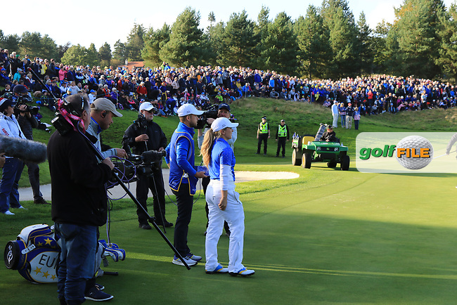 Bronte Law (EUR) watching the big screen on the 17th during Day 3 Singles at the Solheim Cup 2019, Gleneagles Golf CLub, Auchterarder, Perthshire, Scotland. 15/09/2019.<br /> Picture Thos Caffrey / Golffile.ie<br /> <br /> All photo usage must carry mandatory copyright credit (© Golffile | Thos Caffrey)