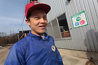 Hiroki Masumoto (31), a graduate student from Tokyo University who now works at Minero Farm near Koriyama, Fukushima, Japan Sunday November 22nd 2015 The Minero Farm is run by the NPO, Fukushima Agricultural Revitalizing Network (FAR-Net) and was intially sponsored by Danone. It aims to revitalise dairy farming in Fukushima through educational and training programmes.