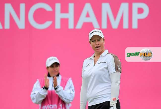 Brittany Lincicome (USA) on the 1st tee to start her match during Saturday's Round 3 of The 2016 Evian Championship held at Evian Resort Golf Club, Evian-les-Bains, France. 17th September 2016.<br /> Picture: Eoin Clarke | Golffile<br /> <br /> <br /> All photos usage must carry mandatory copyright credit (&copy; Golffile | Eoin Clarke)
