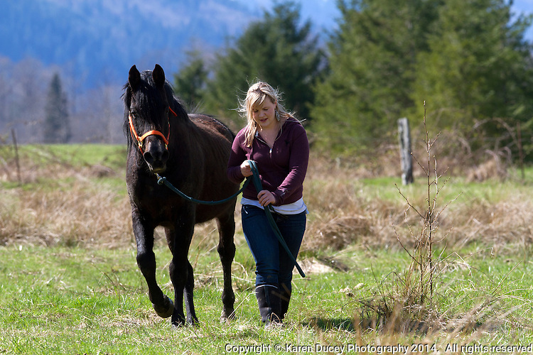 "Alexis Blakey, age 19, from Oso Wash. walks with a stallion on Summer Raffo's farm in Oso, Wash. on April 1, 2014.  Blakey was a friend Raffo and headed to her farm immediately after hearing Raffo was missing after the mudslide on March 22, 2014.  She has been caring for the 16 horses daily since.   ""This was her life,"" said Blakey.  ""She loved horses and loved caring for them.  I'm really going to miss her."""